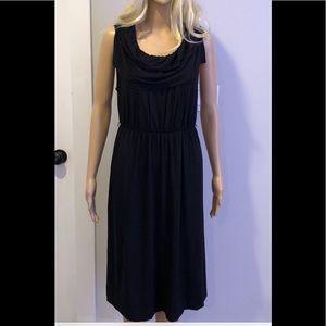 J Crew black knit dress w/ tiered collor neckline